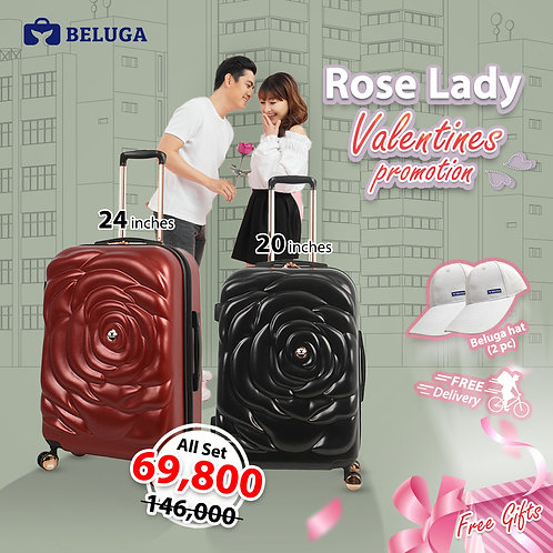 Beluga Rose Lady 20Inches(Black) + 24Inches (Red) Luggage (Gift - Beluga Hatx2)