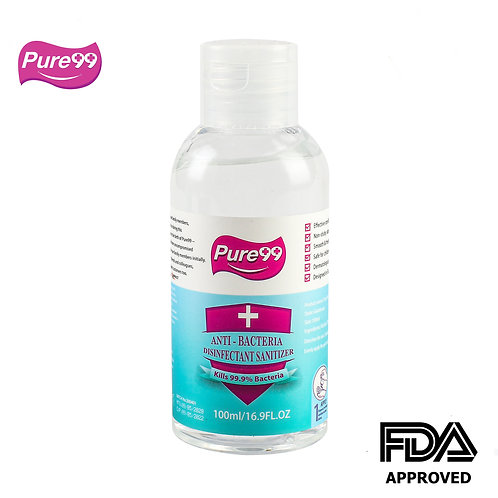 Pure99 Anti-Bacteria Disinfectant Rinse-Free Hand Sanitizer,70% Alcohol, 100ML