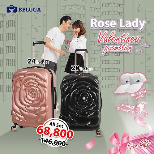 Beluga Rose Lady 20Inches(Black) + 24Inches (Rose) Luggage (Gift - Beluga Hatx2)