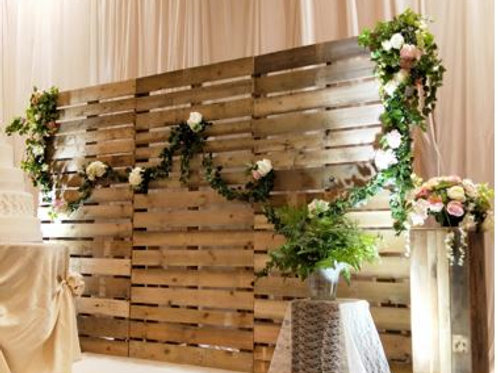 Wooden Backdrop with Artificial Flower Backdrop