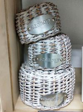 White Ratton Basket Set of 3