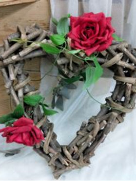 Wooden Heart Décor  (flower optional)