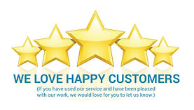 picture of five stars. We love happy customers