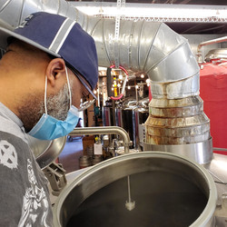 Smitty checking on the boil