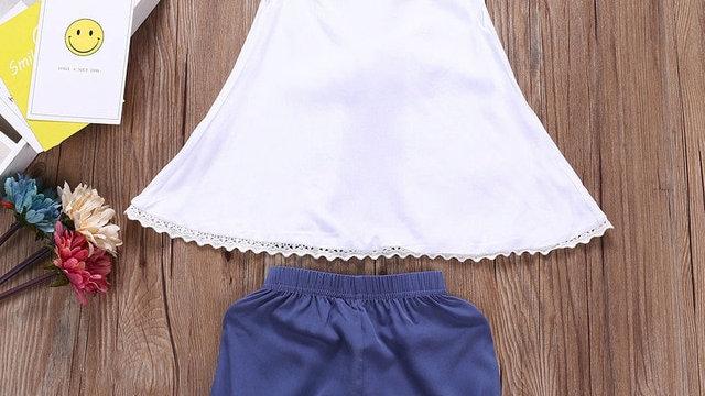 2Pcs Infant Baby Girls clothes set Strap Solid