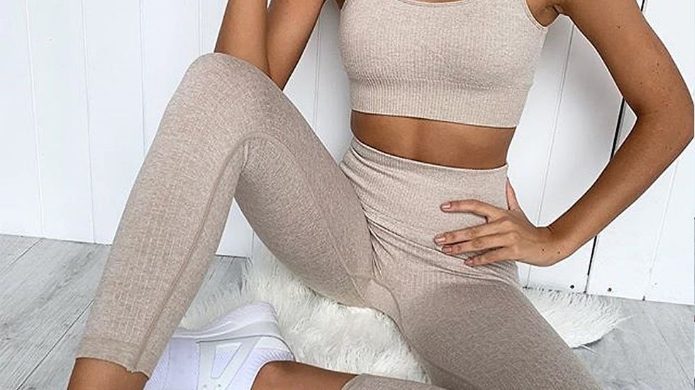 2 Piece Cotton Spandex Yoga Set