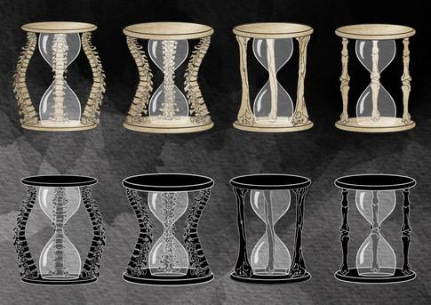 Death's hourglass ideas contact sheet 1.