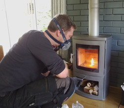 Heating flue for smoke test