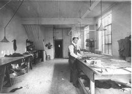 Jacob Sprachman in the workshop of King St. E. location of his shop, ca. 1908. OJA, item 3428.