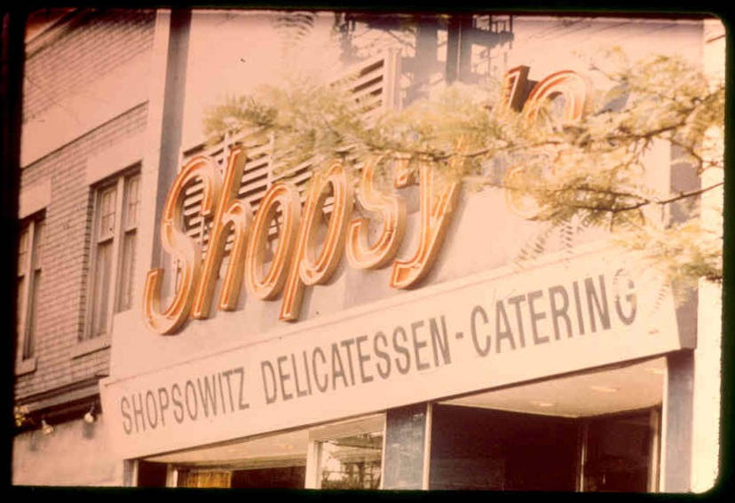 Shopsowitz Delicatessen sign, Spadina Avenue, 1974. Photo by Syd Shoub. OJA, item 272.