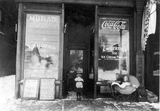 Esther Walerstein in front of Walerstein's Ice Cream Parlour, 332 Spadina Avenue, ca.1921-1923. OJA, item 2533.