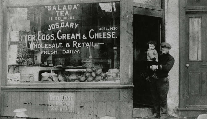 Joseph Gary in front of his grocery at 136 Elizabeth Street in St. John's Ward, ca. 1925. OJA, item 1542.