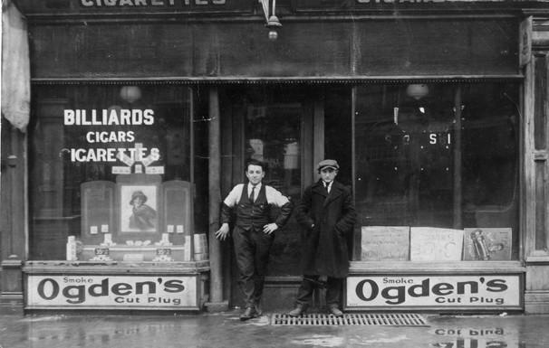 Louis Starkman (left) in front of his Billiard Parlour, 355 College Street, Toronto, ca. 1930. OJA, item 3754.