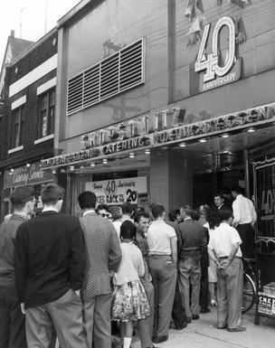 Shopsy's Delicatessen 40th anniversary, 295 Spadina Avenue, 1961. OJA, item 4996.