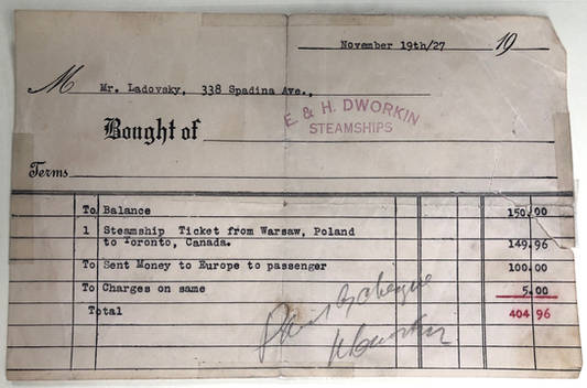 Receipt from E. & H. Dworkin Steamships and Bankers, including a ticket for travel from Warsaw to Toronto, 1927. OJA, fonds 83, file 15.