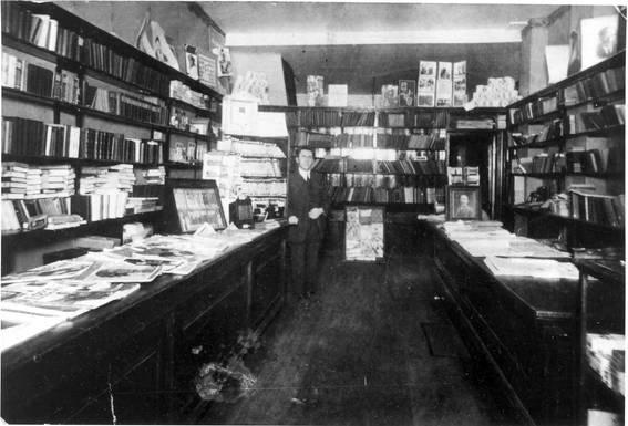Interior of Hyman's Book and Art Shop at its 371 Spadina Avenue location, ca. 1926. OJA, item 1172.