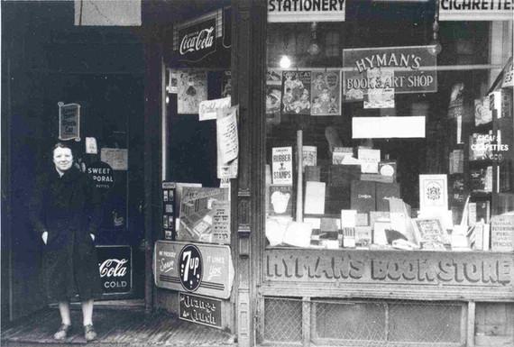 Faye Hyman in front of Hyman's Book Store, 412 Spadina Avenue, 1944. OJA, item 1182.