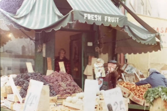The entrance to Joe's Fruit Market, ca. 1970s. Fremar Family Collection.