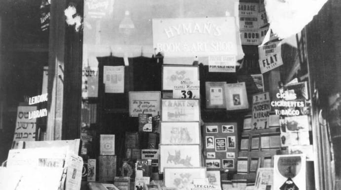 Display in the window of Hyman's Book and Art Shop, 412 Spadina Avenue, ca. 1933. OJA, item 1177.