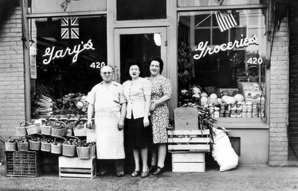 Joseph Gary, Rosie Lachovicz and Goldie Gary (left to right) in front of Gary's Groceries, ca.1935. OJA, item 1543.
