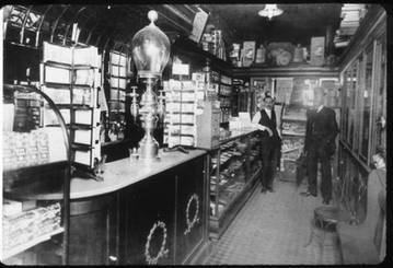 Interior of Rutherford's Cut Rate Drug Store, 400 Spadina Avenue, ca. 1910s. OJA, accession 2018-12-3.