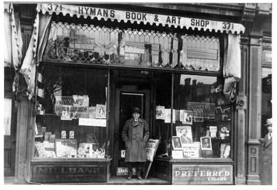 Exterior of Hyman's Book and Art Shop at its 371 Spadina Avenue, ca. 1926. OJA, item 1171.