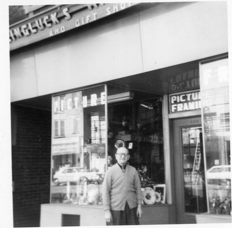 Henry Weingluck in front of his gallery at 623 College Street West, ca. 1950. OJA, fonds 44, item 6.