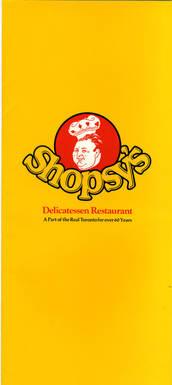 Shopsy's menu, front. OJA, accession 2007-5-4.
