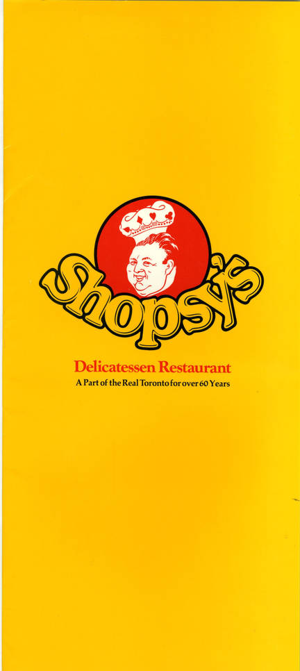 Shopsy's menu, front. OJA, accession 2007-5-4.