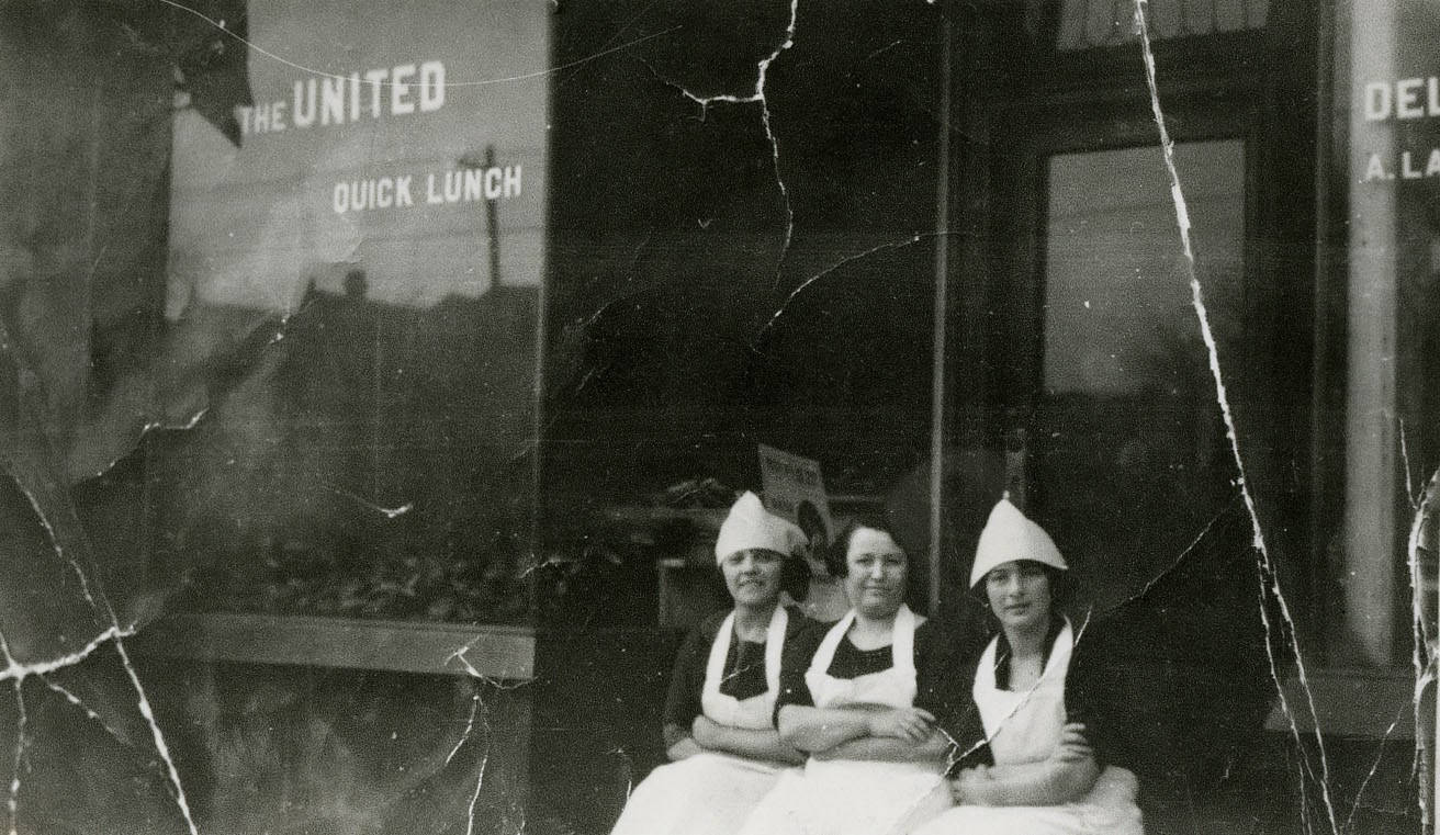 Rose Haniford Green, Sarah Ladovsky and Mary Haniford Pancer in front of United Bakers, ca. 1925-1928. OJA, fonds 83, file 9, item 2.