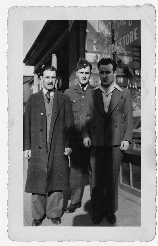 Ben, George and Irving Simon in front of Simon's Book Store, ca. 1940. OJA, fonds 44, item 5.