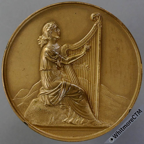 Wallasey 1930 Musical Festival Medal 45mm Female Harpist - Bronze