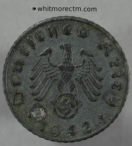 1942 Germany 5 Reichspfennig coin 1942E - Rare