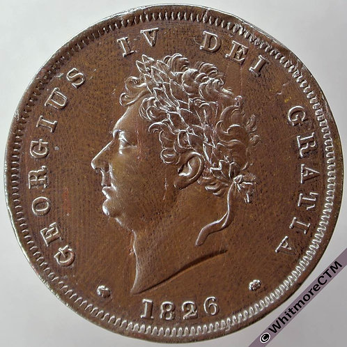 1826 George IV Copper Penny - Thin Line Saltire