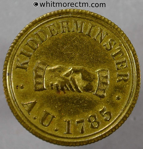 Kidderminster Refreshment Token A.U.1785. Clasped Hands 3D in wreath Gilt brass