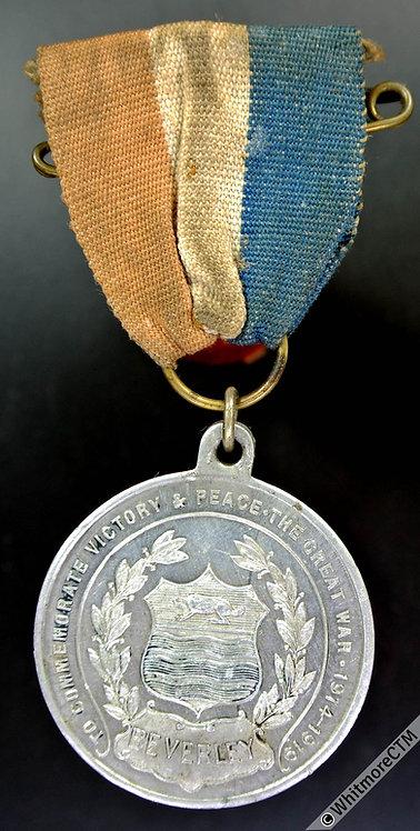 Beverley 1919 Victory & Peace Medal 33mm Aluminium - Ribbon & Pin - Rare.