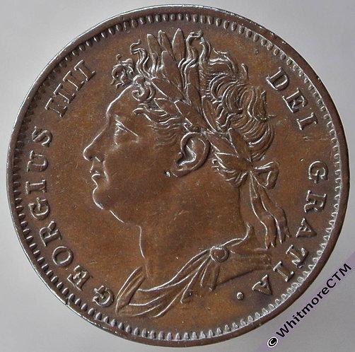 1825 British Copper Farthing raised midribs - George IV