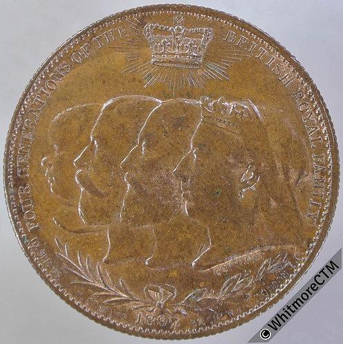 1897 Diamond Jubilee Queen Victoria Medal 32mm By Greuber.  Bronze