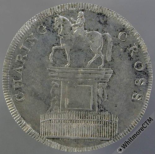 19th Century Shilling London 9 Charing Cross equestrian statue / Shield - Rare