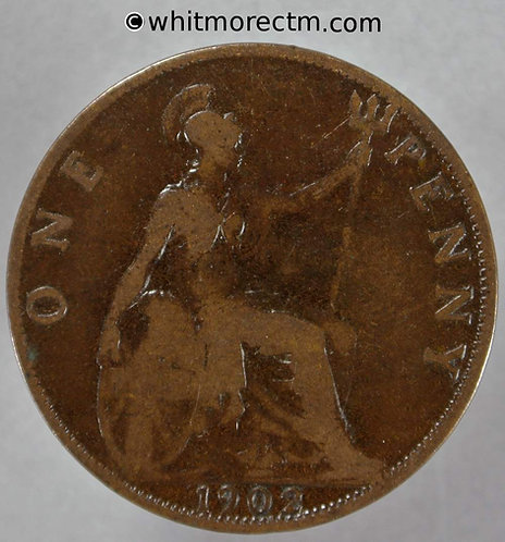 1902 British Bronze Penny - Low tide
