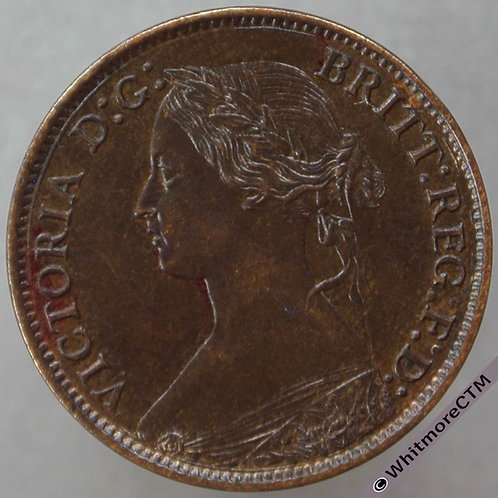 1864 British Bronze Farthing Victoria Bun Head. F511 without serif - 10% Luster