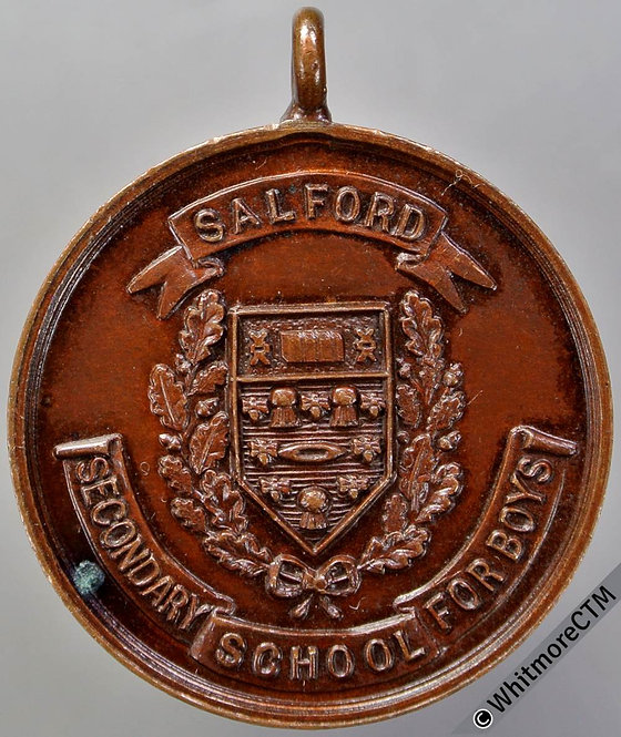 1928 Salford Secondary School for Boys prize Medal 26mm Bronze with suspender