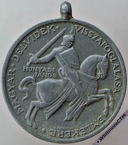1941 Return of Southern Hungary Medal 36mm in Zinc with suspender