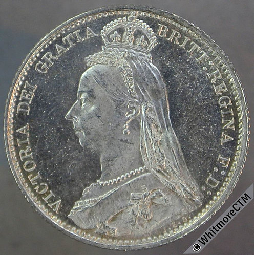 1887 Victoria Jubilee Head Sixpence D1151 Withdrawn - Prooflike