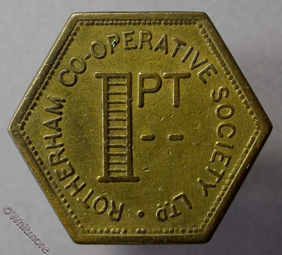 Co-Operative Society token Rotherham 26mm 1pt. Uniface. Hexagonal brass.