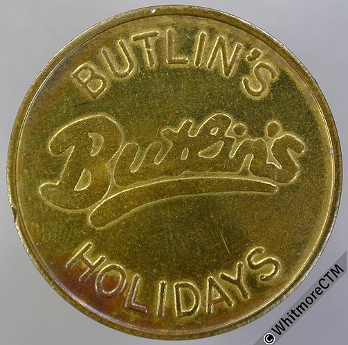 Butlins Holidays Ticket Pass Token 28mm. Brass
