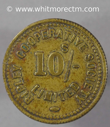 Co-Operative Society Token Ripley 20mm 10/- Milled edge. Brass