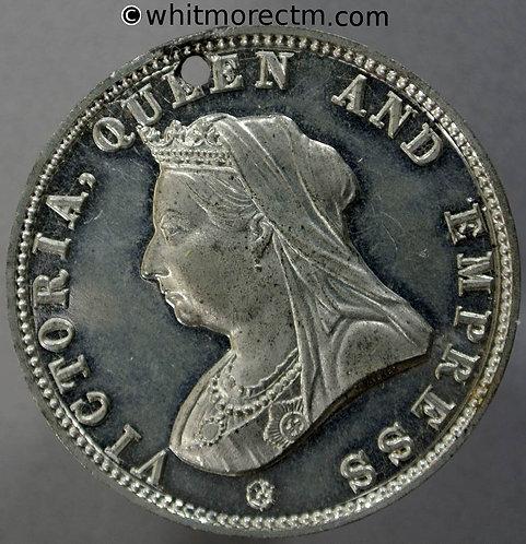 Gravesend 1897 Victoria Jubilee Medal 38mm WE3562C White Metal Pierced