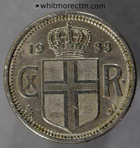 1933 Iceland Y4 10 Aurar coin obv