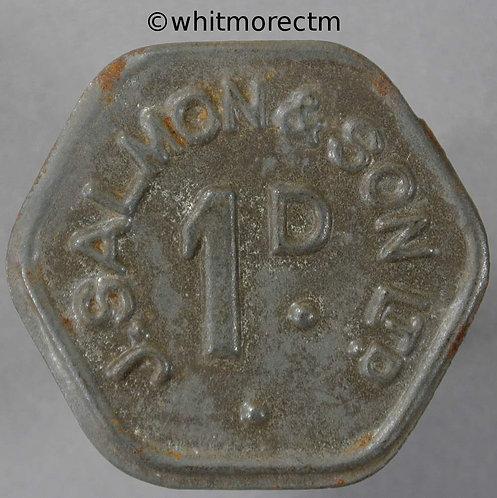 27mm Value Stated Token 1d J.Salmon & Son Ltd Hexagonal bracteate iron